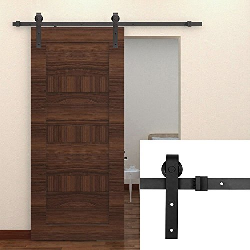Homedex 8 Ft Country Black Barn Wood Sliding Door Hardware Track (8 Barn Door Hardware compare prices)