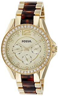 Fossil Riley Multifunction Stainless Steel Watch Gold-Tone With Tort Es3343