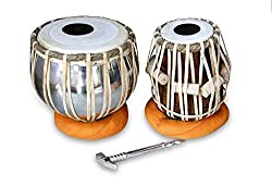SHIV MUSICALS HANDMADE STEEL TABLA DRUM SET BY BEST INDIAN PROFESSIONALS WITH BASE N COVER HAMMER AND CARRY BAG