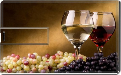 Red White Wine Scatted Grapes 4G Usb Flash Drive 2.0 Memory Stick Luxlady Usb Credit Card Size Customized Support Services Ready Windows Mac Storage External front-572820
