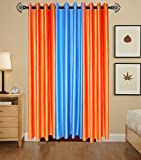 Indian Online Mall Plain Door Curtain (Pack of 2), Orange and Sky Blue