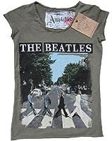 Amplified Damen Lady T-Shirt Grün Khaki Army Green Official The Beatles Merchandise Abbey Road London Rock Star Vintage ViP Rockstar