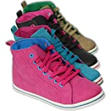 Ladies Trainers Hi Top Womens Shoes Girls Leather Look Check Lace up Casual New BK42