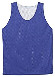 Badger Polyester Mesh Reversible Tank in Royal and White in size YL