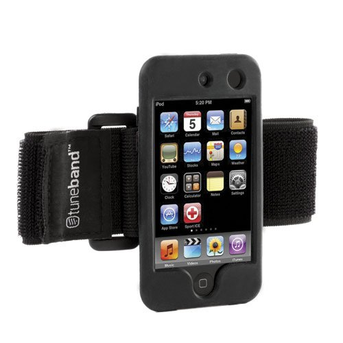Tuneband For Ipod Touch 4Th Generation (Model A1367, 8Gb/16Gb/32Gb/64Gb), Grantwood Technology'S Armband, Silicone Skin, And Screen Protector, Black front-505997