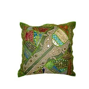 Vintage Sari Patchwork Beaded Cushion Covers Green Floor