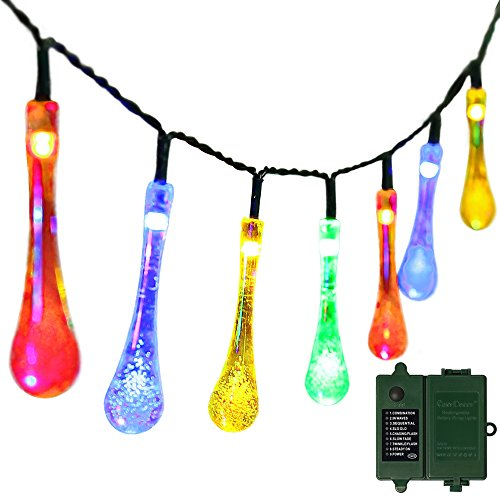 Rechargeable-Battery-IncludedBattery-Operated-Christmas-String-Lights-with-TimereasyDecor-30-LED-21ft-Multi-color-8Mode-Waterproof-Decorative-Fairy-Water-Drop-for-ThanksgivingIndoorOutdoorParty