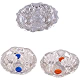GS MUSEUM Silver Plated Rani Kumkum Plate, Silver Plated Roli Chawal Blue Diamond Plate and Silver Plated Roli Chawal Orange Diamond Plate