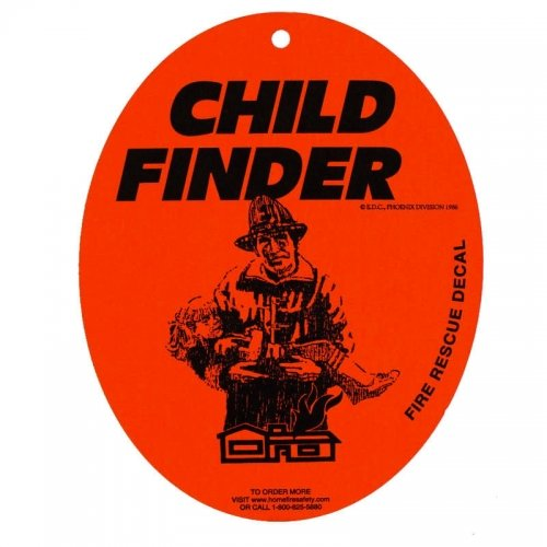 New Child Finder Fire Rescue Decal With Suction Cup front-267553