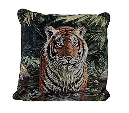 Tiger Pool Tapestry Throw Pillow. Bring The Jungle Home. Made in the USA. 17 x 17 x 6 Inch.