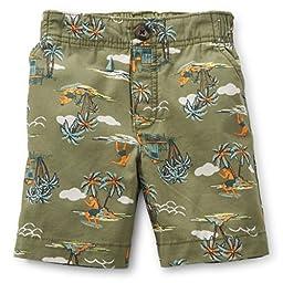 Carter\'s Boys Woven Print Shorts Hawaii Surf (2 Toddler, Green)