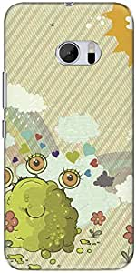 The Racoon Lean printed designer hard back mobile phone case cover for HTC 10. (Sludge Mon)