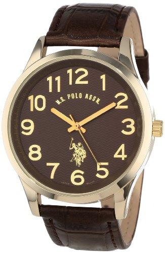 U.S. Polo Assn. Classic Men'S Usc50187  Brown Croco Genuine Leather Band Analog Watch