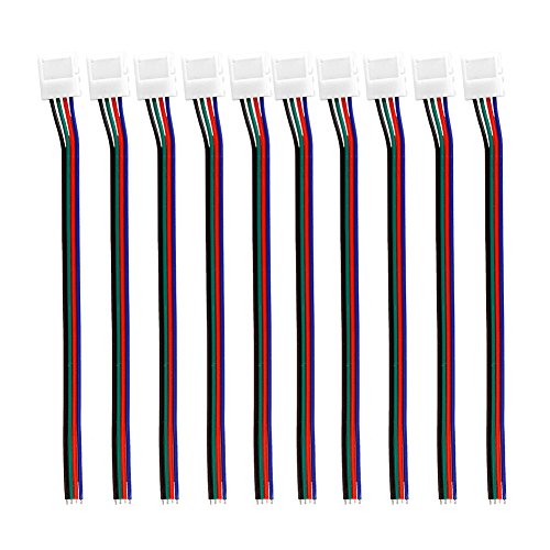 Aqure 10Mm Solderless 4-Wire Connector Clip For 5050 Rgb Led Strip Light Power