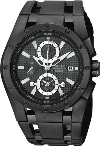 Pulsar PF3759X1 Gents Chronograph Black Stainless Steel Strap Watch