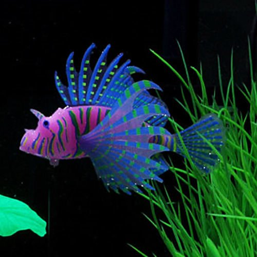 Lionfish S Blue Aquarium Fish Tank Landscape Decoration Glow Simulation Animal Plants Ornament no.33