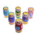 Munecas rusas de jerarquizacion - SODIAL(R)5pcs Conjunto de munecas de madera de pintura rusa de jerarquizacion de mano
