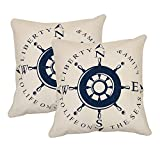 Khrysanthemum Oxford Cotton Nautical Wheel Cushion Cover (Set Of 2) - 16 X 16 Inches, Multi