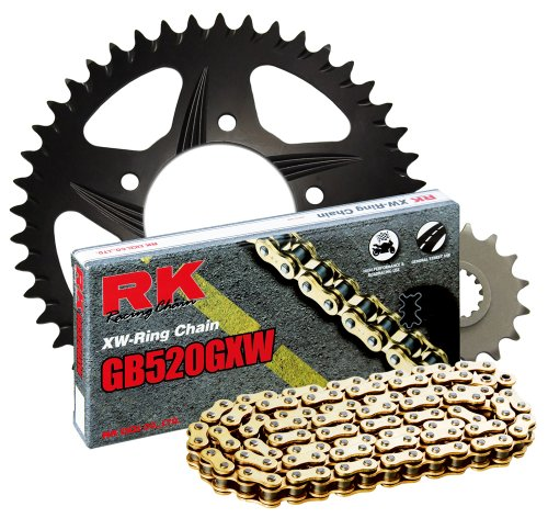 RK Racing Chain 4107-068RK Black Aluminum Rear Sprocket and GB520GXW Chain 520 Race Conversion Kit