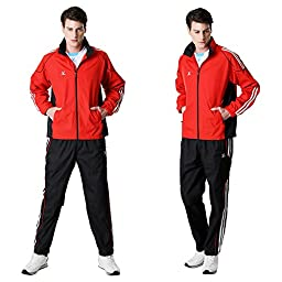 Fuerza Mens Built-In Hood Lightweight Mesh Track Jacket Pants Woven Tracksuit (Medium, Red)