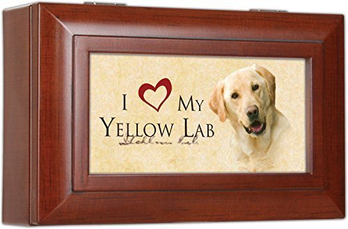 I Love My Yellow Lab Labrador Retriever Dog Cottage Garden Woodgrain Jewelry Music Musical Box - Plays Song Wonderful World