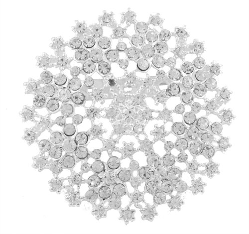 Ladies Silver Iced Out Snowflake Brooch & Pin