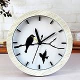 TopMac Silent Wooden Alarm Clocks Bird Series Color Beige