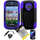 4 items Combo: ITUFFY(TM) LCD Screen Protector Film + Mini Stylus Pen + Case Opener + Black Dual Layer Kick Stand Tuff Impact Armor Hybrid Soft Silicone Cover Hard Snap On Plastic Case for Samsung Galaxy Centura S738C / Samsung Galaxy Discover S730G (Straight Talk / Net10/ TracFone) (Black / Purple)