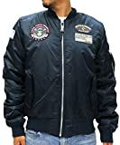 (マルカワジーンズパワージーンズバリュー) Marukawa JEANS POWER JEANS VALUE フライトジャケット メンズ MA-1 ブルゾン ワッペン付 3color (S, ネイビー)