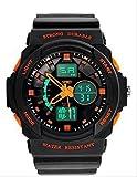 4 色 メンズ ダイバーズ LED ライト 多機能 腕 時計 デジアナ 防水 スポーツ アウトドア ウォッチ (オレンジ)
