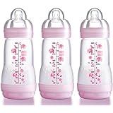 MAM Anti-Colic Self-Sterilising Bottles 260 ml (Pink) (3-Pack)