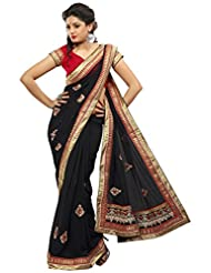 Alethia Black Pure Poly Georgette Casual Heavy Embroidery Sarees With Unstitched Blouse