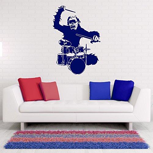 Wandtattoo-Drums-Affe-Rock-Schlagzeug-Wanddekoration-Jugendzimmer-Wanddesign-Musik-Design