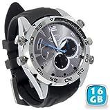 マルチ腕時計 腕時計型ビデオ&カメラ 1080P PCカメラ 暗視機能 防水16GB内蔵 単独録音小型 防犯 シルバー