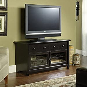 Sauder Edge Water Panel TV Stand, Estate Black Finish