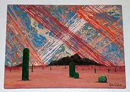 MODERN ART DESERT CACTUS LANDSCAPE PAINTING TITLED: THE SEMANTICS OF CACTI