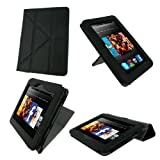 rooCASE Origami Dual-View (Black) Vegan Leather Folio Case Cover for Amazon Kindle Fire HD 7 Inch Tablet  - Support Landscape / Portrait / Typing Stand / Auto Sleep and Wake