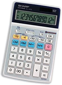 Sharp Calculator Tax Euro Desktop Tax Battery/solar-power 12 Digit 104x168x18mm - Ref El337eb