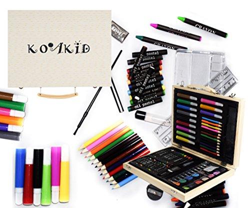 mal-set-kinder-holz-koffer-55-teile-farbkasten-buntstifte-bleistifte-filzstiften-wachsmalstifte-gesc