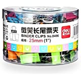 Deli Smiling Binder Clips ,1-inch Wide , Four Colors ,48 Clips Per Pack, No.8486