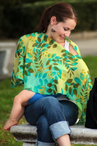 Stack & Co. Reno Rose Pirose Motherhood Nursing Scarf Cover, Leaves ,Green Leaves