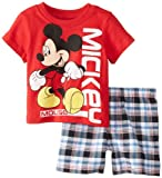 Disney Baby-Boys Infant Mickey Plaid with Tee Short Set, Red, 12 Months