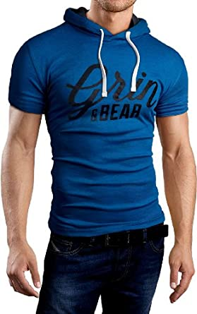 Grin&Bear Polo Tee Shirt T-Shirt à capuche, manche courte, bleu imprimé, L
