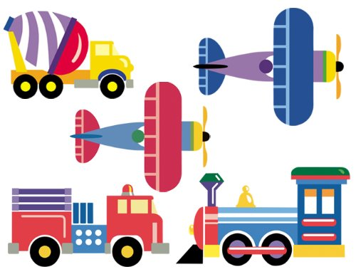 Wallies Trains, Planes, And Trucks Wallpaper Mural