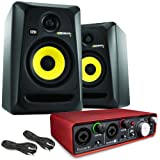 KRK Rokit RP5 G3 Studio Monitors (Pair) & Focusrite Scarlett 2i2 Audio Interface
