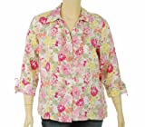 51bpsqo6BJL. SL160  JM Collection Linen Three Quarter Sleeve Blouse Flower Stamp 18W
