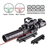 """Pinty AR15 Rifle Scope 3-9x32EG Rangefinder Illuminated Reflex Sight 4 Reticle Red&Green Quick Release Red Dot Laser Sight with 14 Slots 1"""" Compact High Riser Mount"""