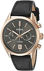 Fossil Men's CH2991 Del Rey Chronograph Leather Watch - Black