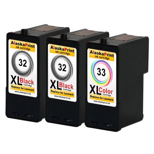 Sparangebot 3x Druckerpatronen Tintenpatronen Ersatz für Lexmark 32 XL + 33 XL (2x Black + 1x Color) Ink Cartridge Original Schiffserie
