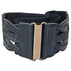 eVogues Plus Size Braided Elastic Leatherette Fashion Belt Black - One Size Plus